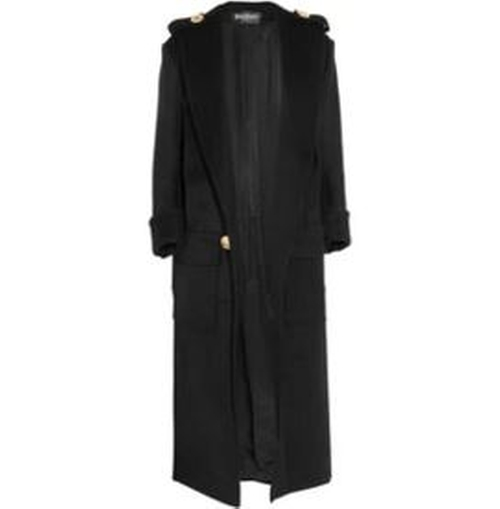 Oversized Epaulet Buttons Wool Coat by Balmain in Keeping Up With The Kardashians - Season 11 Episode 12