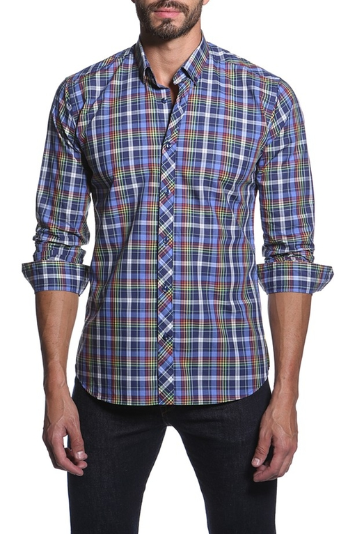 Trim Fit Plaid Sport Shirt by Jared Lang in The Mindy Project - Season 4 Episode 8