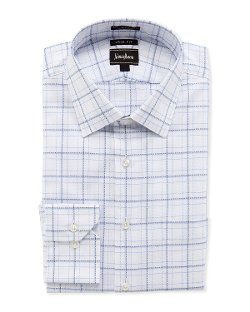 Trim-Fit Plaid Dobby Dress Shirt by Neiman Marcus in The Best of Me
