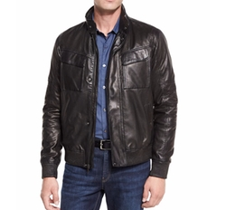 Perforated Leather Bomber Jacket by Michael Kors in The Fate of the Furious