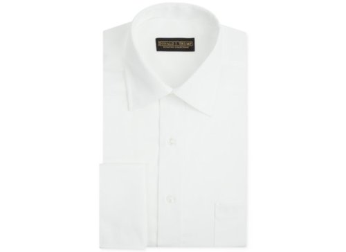 Non-Iron White Twill French Cuff Shirt by Donald Trump in Black or White