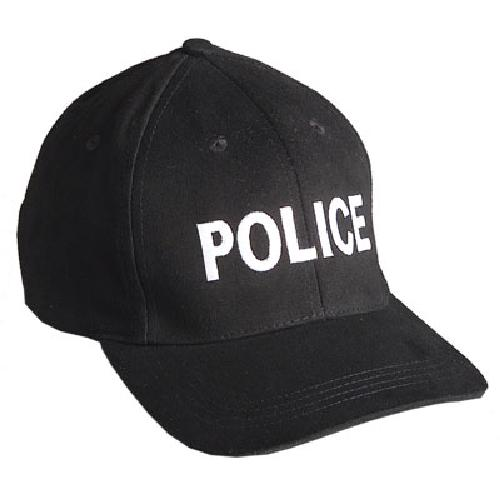 "Emblem Baseball Cap ""POLICE"" - Black w/White Embroidery by Atlantic Tactical in Sabotage"