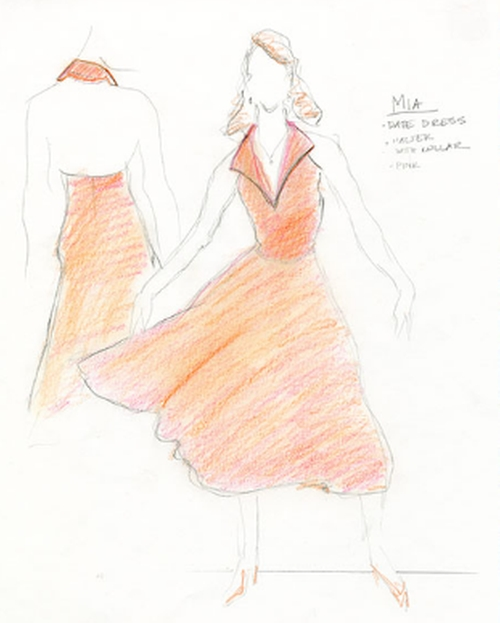Custom Made Fold Over Collar Halter Dress by Mary Zophres (Costume Designer) in La La Land