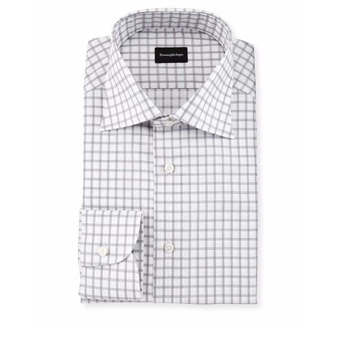 Contemporary-Fit Large Box-Check Dress Shirt by Ermenegildo Zegna in Ballers - Season 2 Episode 9