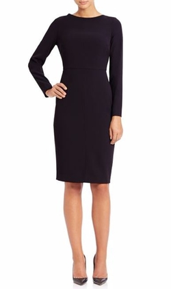 Crewneck Long-Sleeve Dress by Saks Fifth Avenue Collection Ponte in Elementary