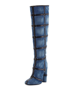 Woven Leather Trimmed Denim Knee Boots by Tom Ford  in Keeping Up With The Kardashians