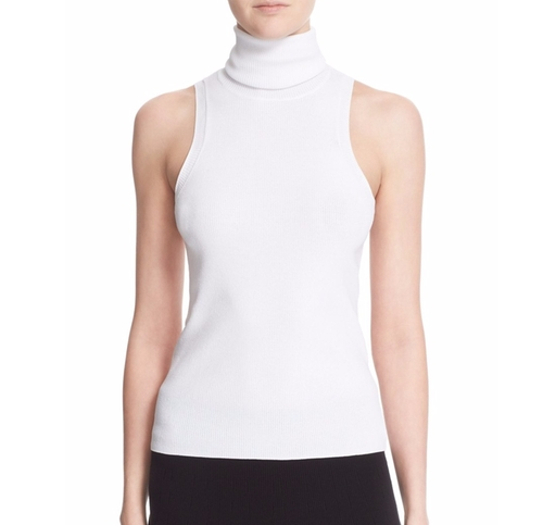 'Mirella' Ribbed Sleeveless Turtleneck Top by A.L.C in The Boss