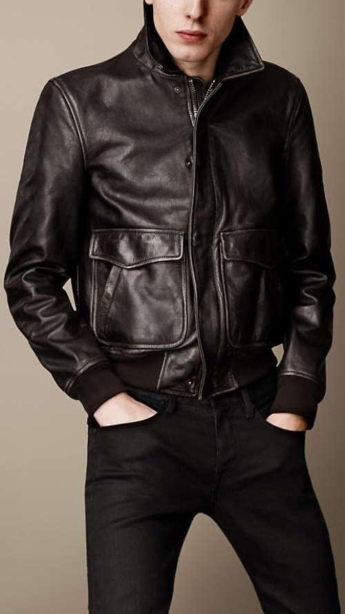 Airforce Leather Blouson Jacket by Burberry in The Fault In Our Stars