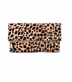 Foldover Calf Hair Leopard Print Clutch by Clare V. in Ingrid Goes West