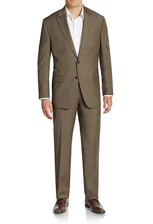 Regular-Fit Sharkskin Wool Suit by Lauren Ralph Lauren in Love Actually