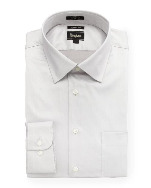 Regular-Finish Trim-Fit Dress Shirt, Gray by Neiman Marcus in Get On Up