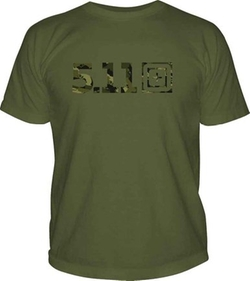 Tactical Camo Short Sleeve Logo Tee Shirt by 5.11 in American Ultra