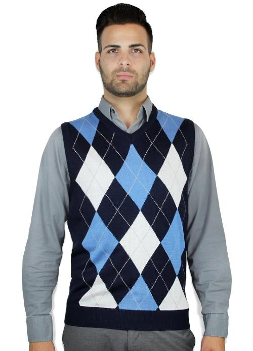 Men's Ocean Argyle V-Neck Sweater Vest by Blue Ocean in New Year's Eve