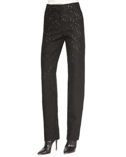 Flecked Zip-Front Straight-Leg Pants by No. 21 in She's Funny That Way