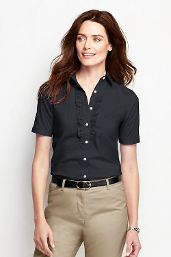 Short Sleeve Stretch Ruffle Blouse by Lands' End in (500) Days of Summer