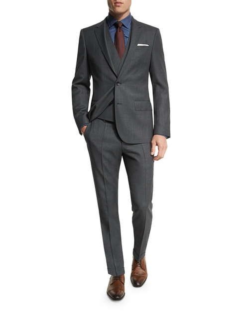 Huge Genius Slim Birdseye Three-Piece Suit by Boss Hugo Boss in Empire
