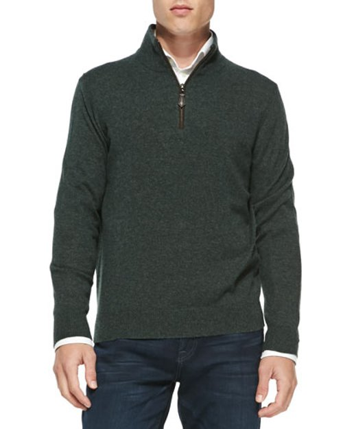 Nano-Cashmere 1/4-Zip Pullover by Neiman Marcus	 in The Age of Adaline