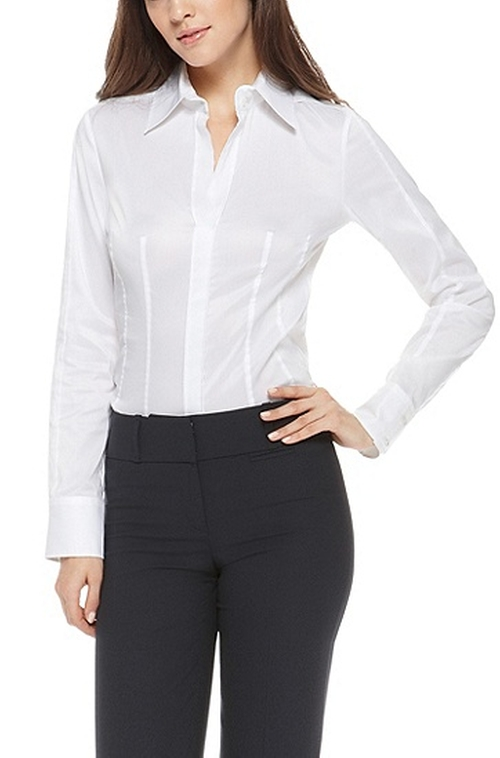 Cotton Blend V-Neck Blouse by Boss in Spy