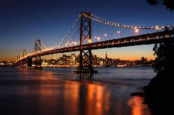 Oakland Bay Bridge by San Francisco in Transcendence