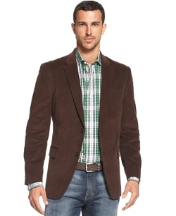 Solid Trim-Fit Corduroy Sport Coat With Elbow Patches by Tommy Hilfiger in While We're Young