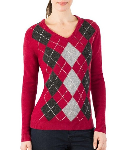 Women's Lambswool V Neck Argyle Sweater by Wool Overs in Me and Earl and the Dying Girl