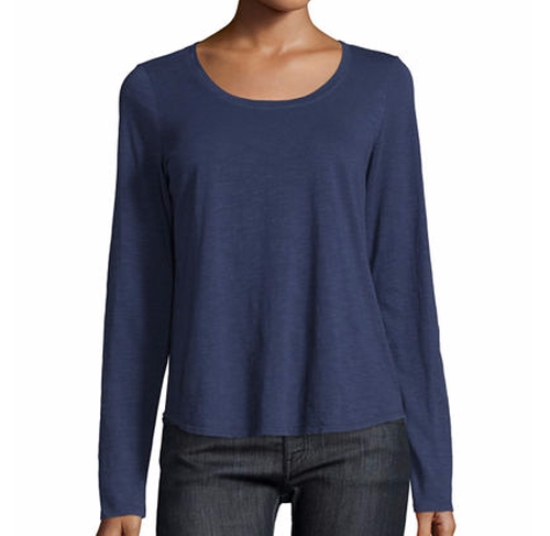 Long-Sleeve Organic Slub Jersey Tee by Eileen Fisher in Animal Kingdom - Season 1 Episode 10