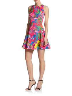 Tropical Print Fit-&-Flare Dress by Milly in Unbreakable Kimmy Schmidt