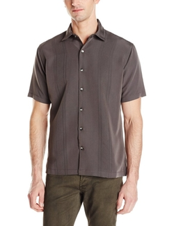 Men's Short Sleeve Rayon Poly Engineered Panel Shirt by Van Heusen in Modern Family