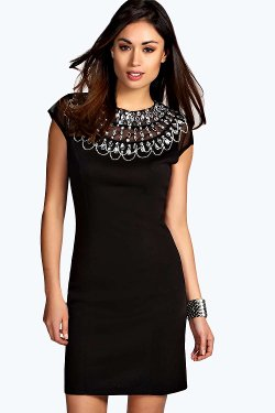 Embellished High Neck Bodycon Dress by Kacie in The Loft