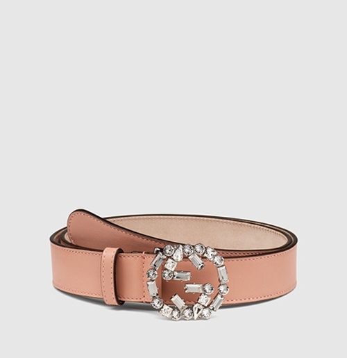 Leather Belt with Crystal Interlocking G Buckle by Gucci in Scream Queens - Season 1 Episode 1
