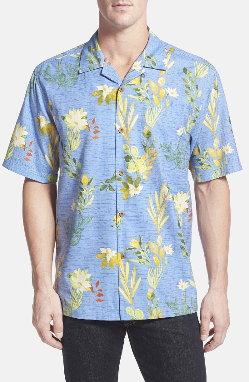 'Medici Meadows' Original Fit Silk & Cotton Campshirt by Tommy Bahama in No Escape
