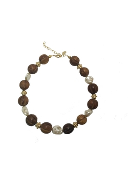 Wood Pearl Necklace by Susan Shaw in Wet Hot American Summer