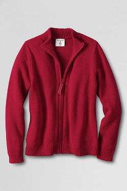 School Uniform Little Girls' Zip-Front Drifter Cardigan by Lands' End in Before I Wake