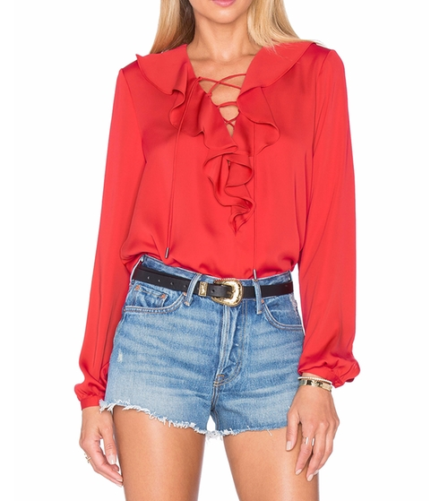 The Ruffle Boho Blouse by L'Academie in Mistresses - Season 4 Episode 8