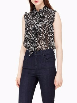 Spot Chiffon Ruffle Top by Kate Spade in Friends From College