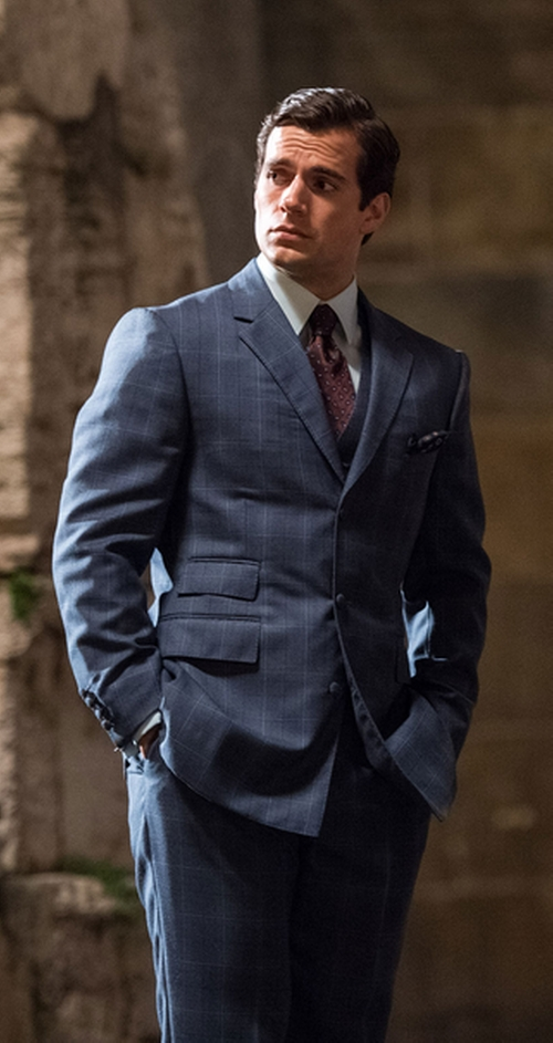 Custom Made Windowpane Suit by Timothy Everest in The Man from U.N.C.L.E.