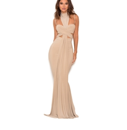 Taupe Crossover Bust Maxi Dress by House Of CB in The Bachelor
