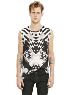 Sleeveless Geometric Cotton T-Shirt by Balmain in Empire