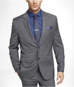 GRAY STRETCH WOOL PRODUCER SUIT JACKET by EXPRESS in About Last Night