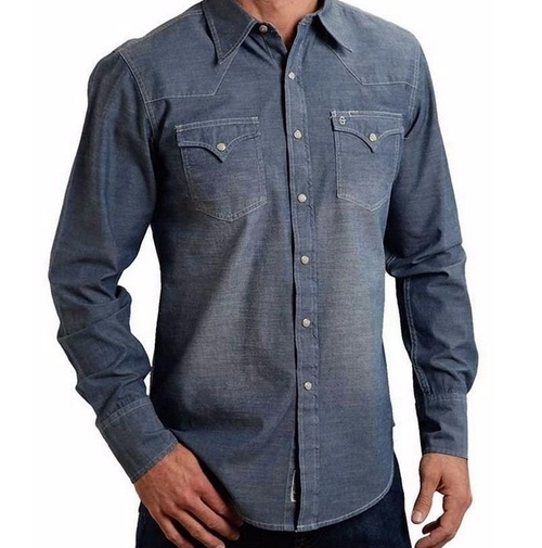 Indigo Chambray Shirt by Stetson in The Ranch -  Looks