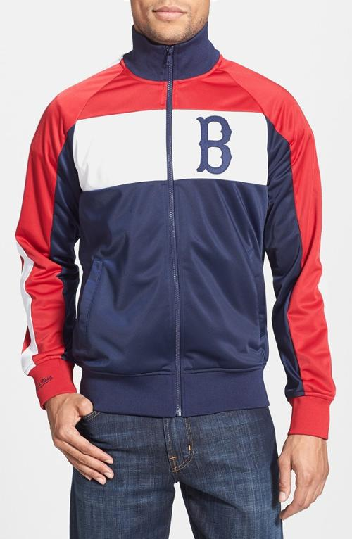 Boston Red Sox Home Stand Tailored Fit Track Jacket by Mitchell & Ness in Project Almanac