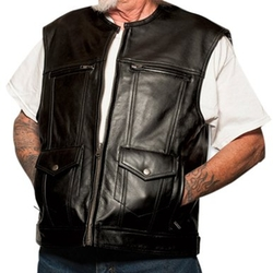 Special OPS Men Black Vest by Prime American Leather Products in Arrow