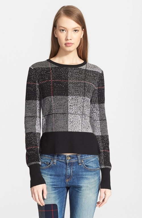 'Tegan' Plaid Crewneck Pullover by Rag & Bone/Jean in Arrow - Season 4 Episode 9