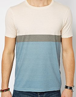 Stripe T-Shirt With Color Block by Asos in The Town