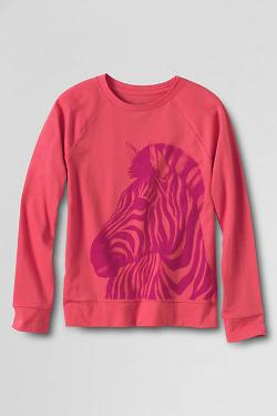 Girls' Long Sleeve Crewneck Graphic T-Shirt by Lands' End in Prisoners