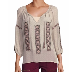 Wavebreak Cotton Embroidered Peasant Blouse by Joie in Quantico