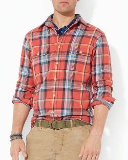 Plaid Matlock Workshirt by Polo Ralph Lauren in Top Five