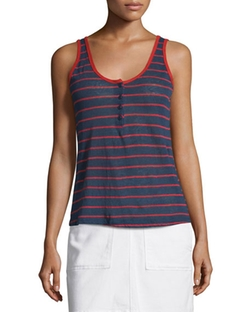 Le Nautical Striped Henley Tank Top by Frame Denim in Pretty Little Liars