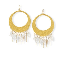 Baroque Pearl Statement Hoop Earrings by Devon Leigh in Marvel's Luke Cage