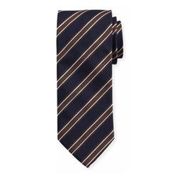 Woven Twill Stripe Silk Tie by Eton in Suits
